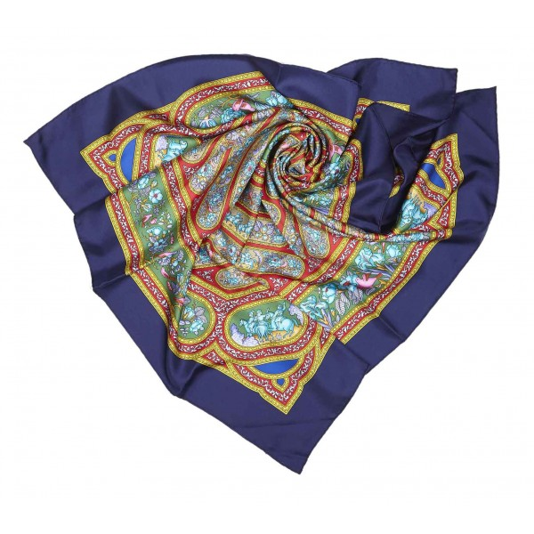 Hermès Vintage - Qalamdan Silk Scarf - Viola Multi - Foulard in Seta - Alta Qualità Luxury