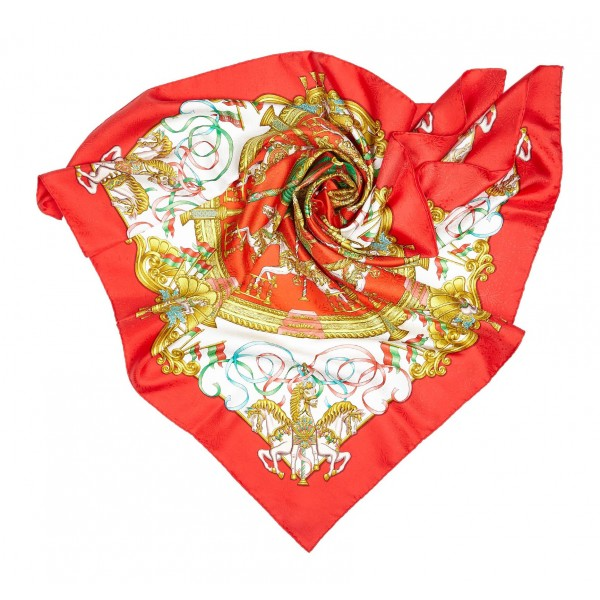 Hermès Vintage - Luna Park Silk Scarf - Red Multi - Silk Foulard - Luxury High Quality