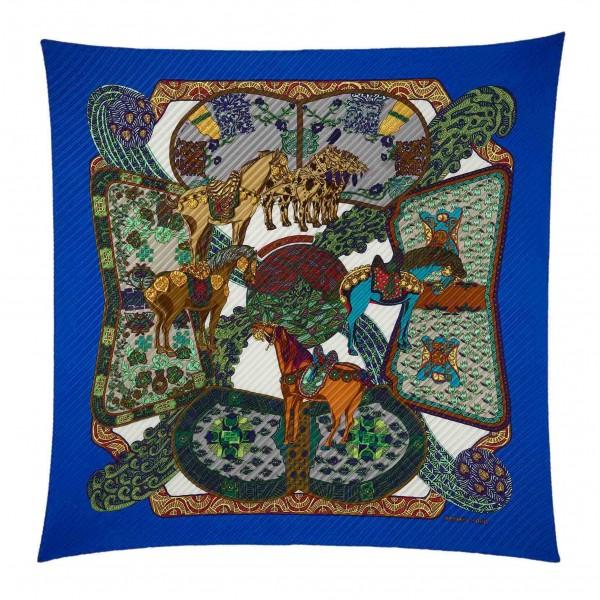 Hermès Vintage - Art Des Steppes Silk Scarf - Verde Blu Multi - Foulard in Seta - Alta Qualità Luxury