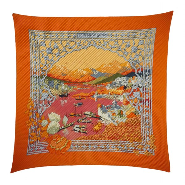 Hermès Vintage - Le Fleuve Sacre Silk Scarf - Orange Multi - Silk Foulard - Luxury High Quality