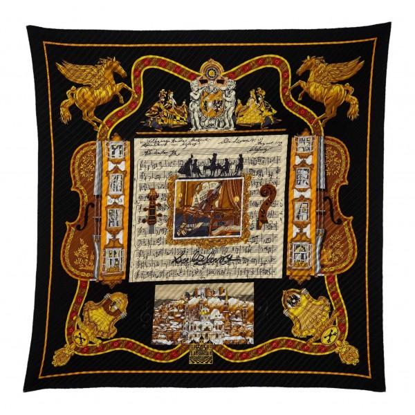 Hermès Vintage - Salzburg Silk Scarf - Nero Multi - Foulard in Seta - Alta Qualità Luxury