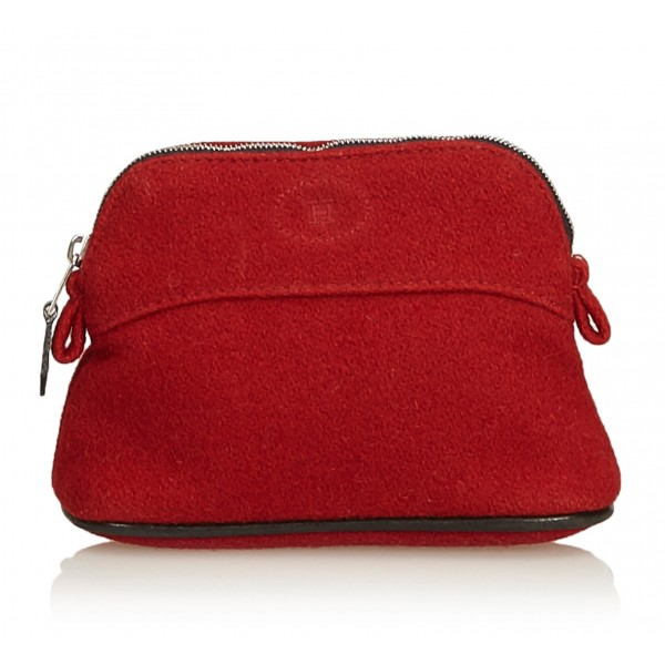 Hermès Vintage - Bolide Trousse De Voyage - Red - Canvas and Wool Pouch - Luxury High Quality