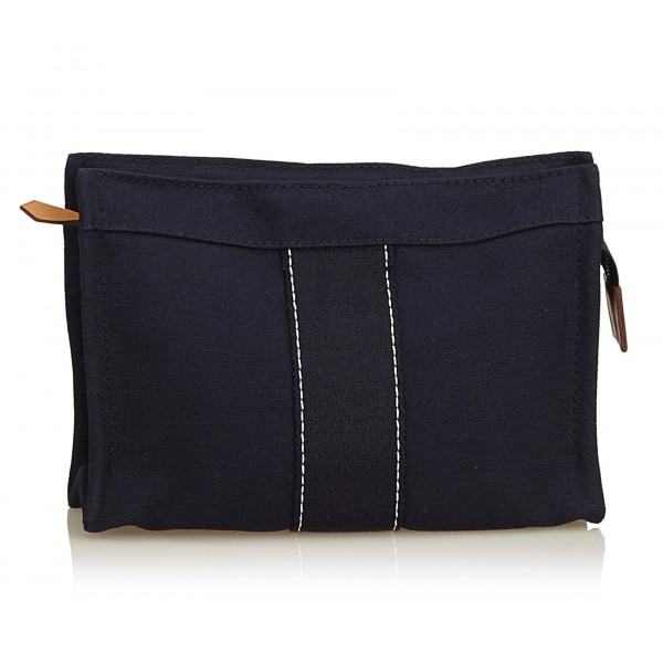 Hermès Vintage - Fourre Tout Pouch - Blue Navy - Canvas Pouch - Luxury High Quality