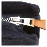 Hermès Vintage - Fourre Tout Pouch - Blue Navy - Canvas Pouch - Luxury High Quality