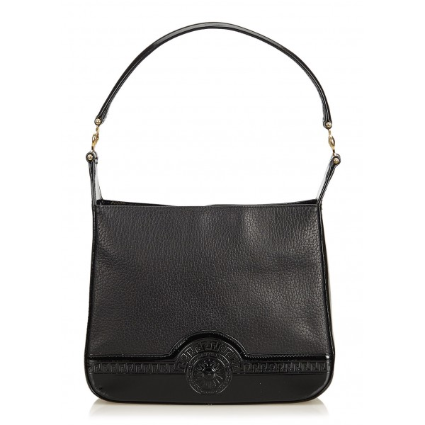 Versace Vintage - Leather Shoulder Bag - Nera - Borsa in Pelle - Alta Qualità Luxury