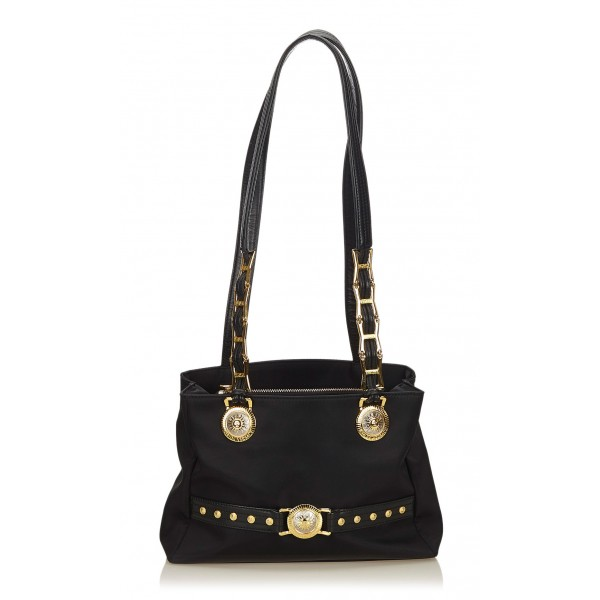 Versace Vintage - Medusa Shoulder Bag - Black - Leather Handbag - Luxury High Quality