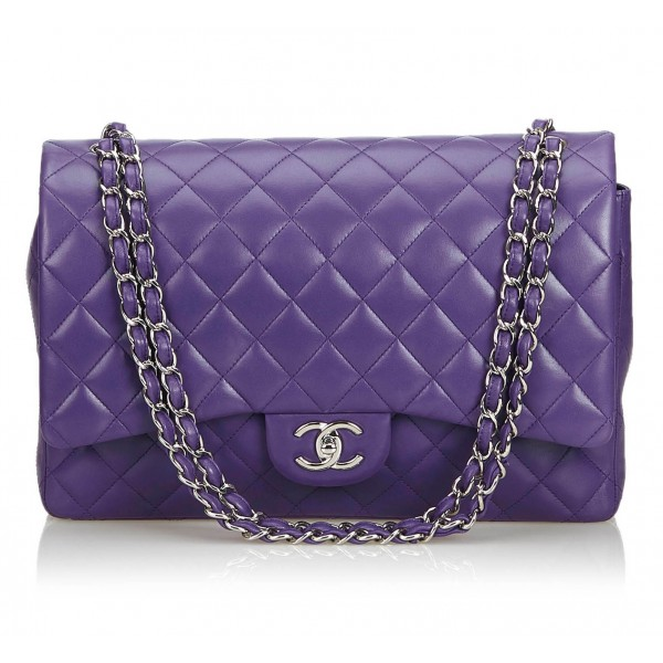 Chanel Vintage - Classic Maxi Lambskin Leather Double Flap Bag - Purple - Leather and Lambskin Handbag - Luxury High Quality