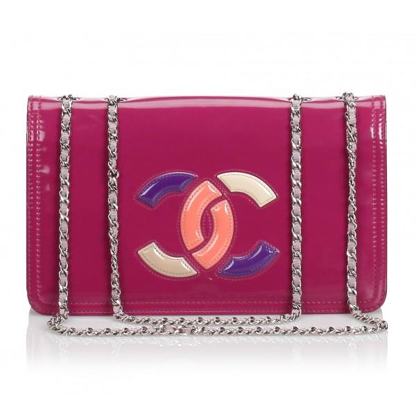 Chanel Vintage - Patent Lipstick Flap Bag - Rosa - Borsa in Pelle Verniciata - Alta Qualità Luxury