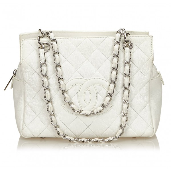 Chanel Vintage - Caviar Petit Timeless Shopping Tote Bag - Bianco Avorio - Borsa in Pelle Caviar - Alta Qualità Luxury
