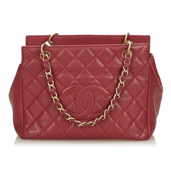 Chanel Vintage - Caviar Petit Timeless Shopping Tote Bag - Rossa - Borsa in Pelle Caviar - Alta Qualità Luxury
