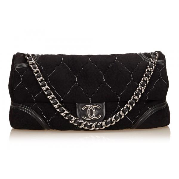4949d2e43a40 Chanel Vintage - Nubuck Leather Flap Bag - Black - Nubuck Leather Handbag - Luxury  High