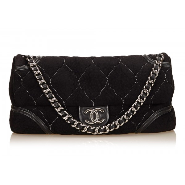 Chanel Vintage - Nubuck Leather Flap Bag - Nera - Borsa in Pelle Nabuk - Alta Qualità Luxury