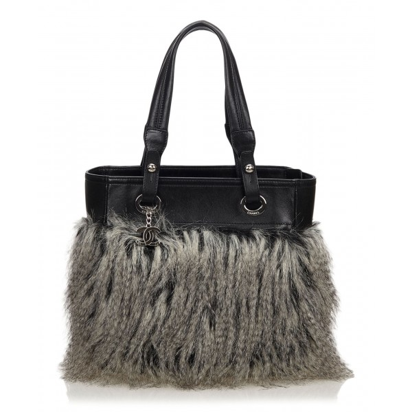 Chanel Vintage - Fur Fantasy Handbag - Nera - Borsa in Pelliccia - Alta Qualità Luxury