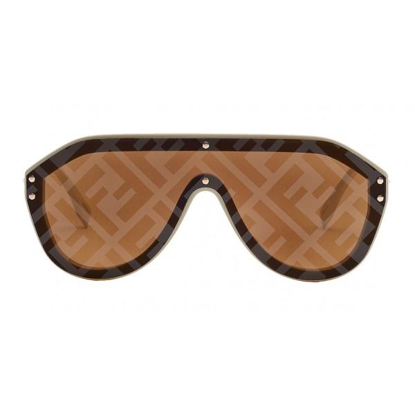 Fendi - Fabulous - Occhiali da Sole Mascherina Oversize Beige - Occhiali da Sole - Fendi Eyewear