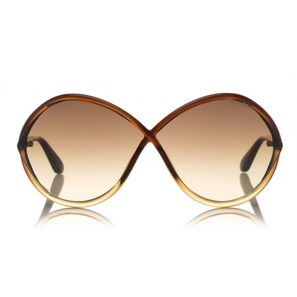 Tom Ford - Liora Sunglasses - Oversized Round Acetate Sunglasses - FT0528 - Brown - Tom Ford Eyewear
