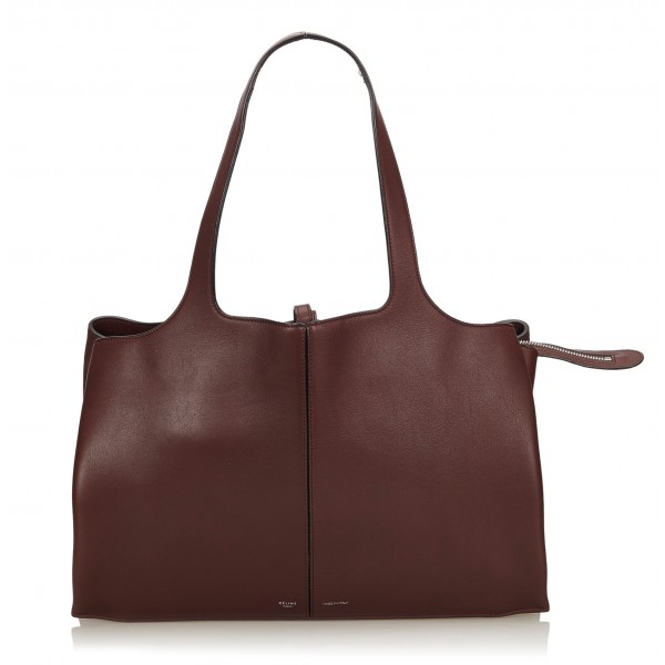 Céline Vintage - Medium Calf Leather Trifold Shoulder Bag - Marrone - Borsa in Pelle e Vitello - Alta Qualità Luxury