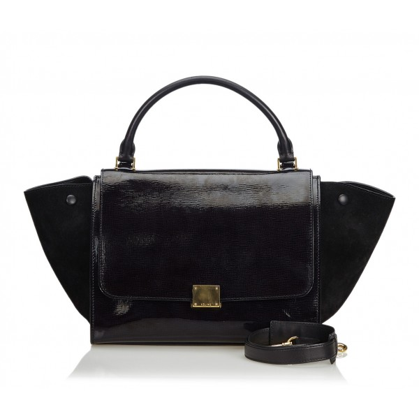 Céline Vintage - Patent Leather Trapeze Satchel Bag - Nero - Borsa in Pelle Verniciata - Alta Qualità Luxury