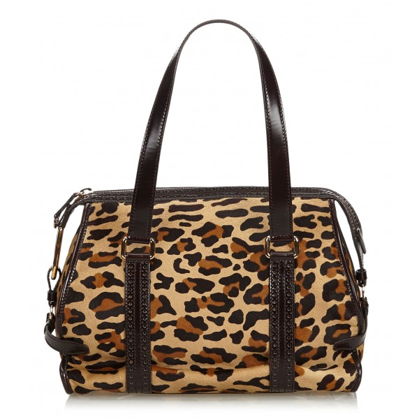Céline Vintage - Leopard Print Pony Hair Shoulder Bag - Marrone Leopardo - Borsa in Pelle - Alta Qualità Luxury
