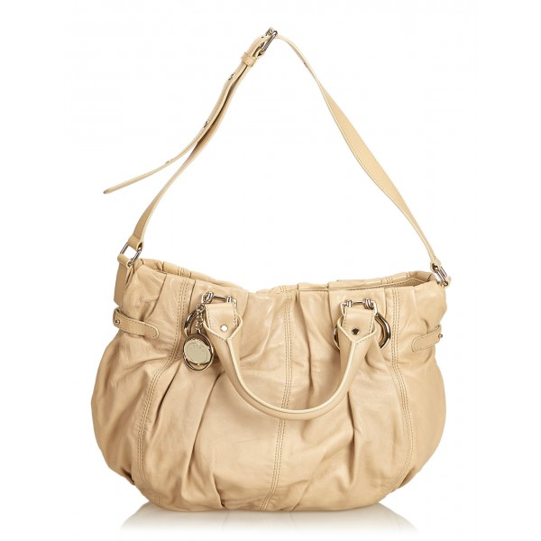 Céline Vintage - Leather Satchel Bag - Marrone Beige - Borsa in Pelle - Alta Qualità Luxury