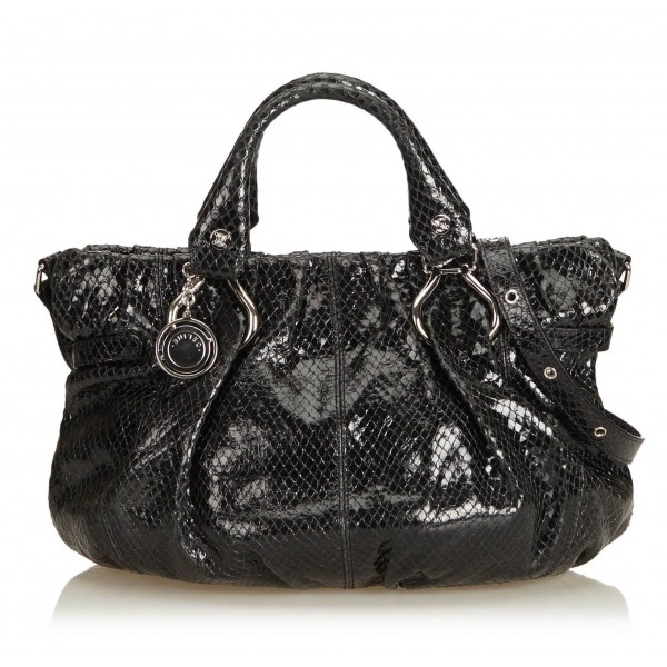 Céline Vintage - Embossed Patent Leather Satchel Bag - Nero - Borsa in Pelle Verniciata - Alta Qualità Luxury