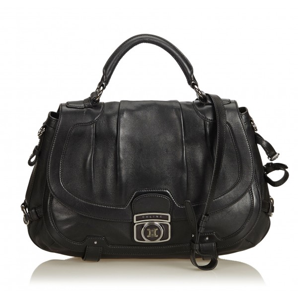 Céline Vintage - Leather Satchel Bag - Nero - Borsa in Pelle - Alta Qualità Luxury