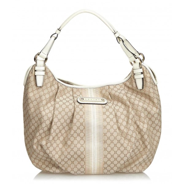 Céline Vintage - Macadam Jacquard Hobo Bag - Marrone Beige - Borsa in Pelle e Tessuto - Alta Qualità Luxury