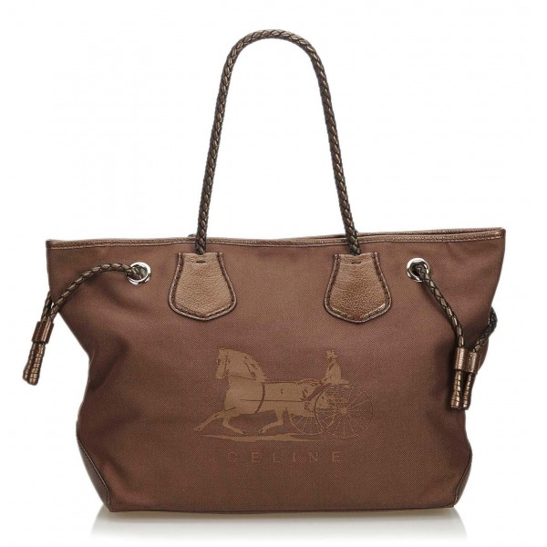 Céline Vintage - Canvas Tote Bag - Marrone - Borsa in Pelle e Tela - Alta Qualità Luxury