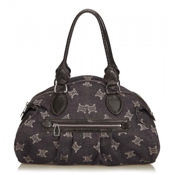 Céline Vintage - Jacquard Macadam Shoulder Bag - Grigio - Borsa in Pelle e Tessuto - Alta Qualità Luxury