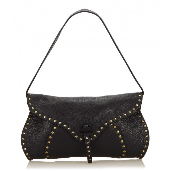 Céline Vintage - Studded Leather Baguette Bag - Nero - Borsa in Pelle - Alta Qualità Luxury
