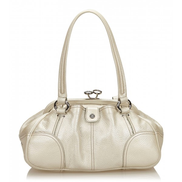 Céline Vintage - Leather Satchel Bag - Bianco Avorio - Borsa in Pelle - Alta Qualità Luxury
