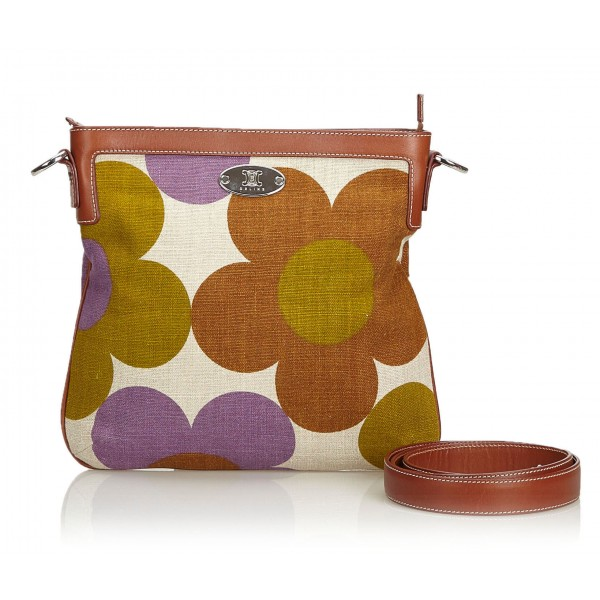 Céline Vintage - Floral Canvas Crossbody Bag - Marrone Beige - Borsa in Pelle e Tessuto - Alta Qualità Luxury