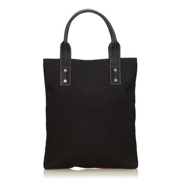 Céline Vintage - Macadam Jacquard Tote Bag - Black - Leather and Fabric Handbag - Luxury High Quality