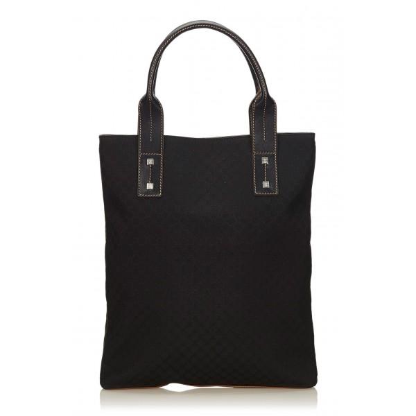 Céline Vintage - Macadam Jacquard Tote Bag - Nero - Borsa in Pelle e Tessuto - Alta Qualità Luxury