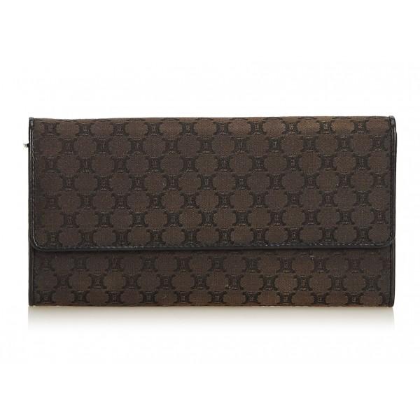 Céline Vintage - Macadam Jacquard Long Wallet - Marrone - Portafoglio in Pelle - Alta Qualità Luxury