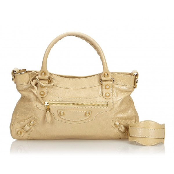 Balenciaga Vintage - Leather Motocross Giant City Bag - Marrone Beige - Borsa in Pelle - Alta Qualità Luxury
