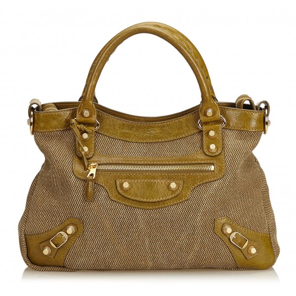 Balenciaga Vintage - Motocross Canvas Giant Town Bag - Marrone Beige - Borsa in Pelle e Tessuto - Alta Qualità Luxury