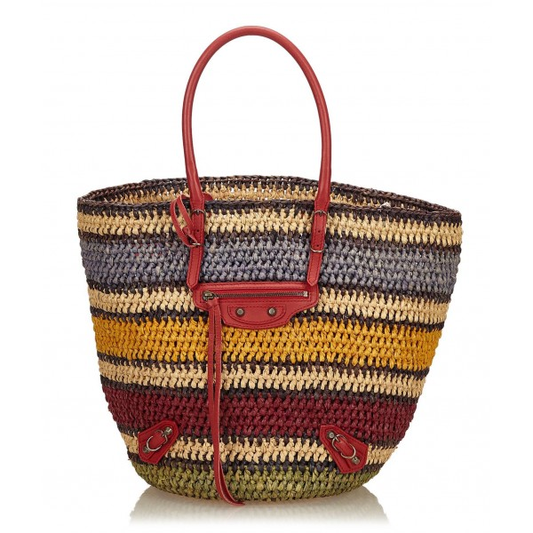 Balenciaga Vintage - Classic Panier Basket Bag - Marrone Beige - Borsa in Pelle e Paglia - Alta Qualità Luxury