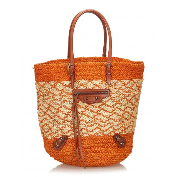 Balenciaga Vintage - Motocross Classic Panier Basket Bag - Orange White - Leather and Straw Handbag - Luxury High Quality