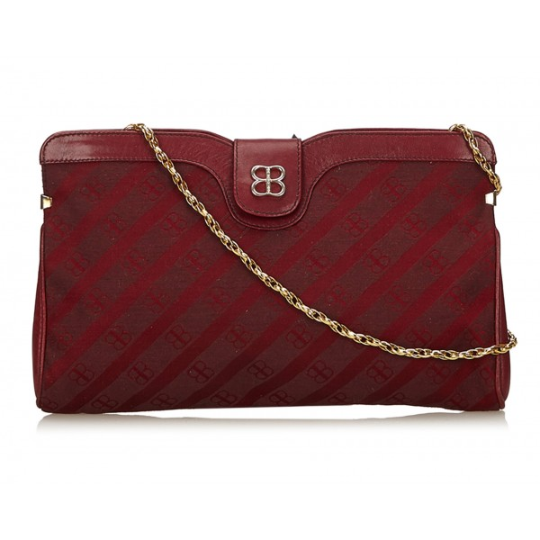 Balenciaga Vintage - Printed Jacquard Chain Bag - Red Bordeaux - Leather and Canvas Handbag - Luxury High Quality