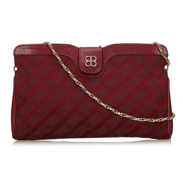 Balenciaga Vintage - Printed Jacquard Chain Bag - Rosso Bordeaux - Borsa in Pelle e Tessuto - Alta Qualità Luxury