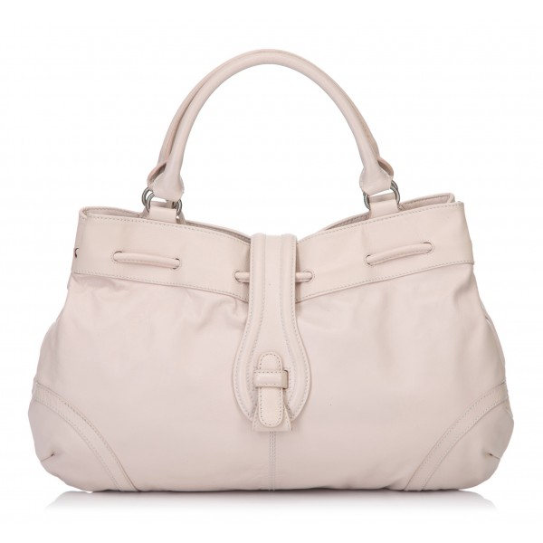 Balenciaga Vintage - Drawstring Leather Handbag Bag - Pink - Leather Handbag - Luxury High Quality