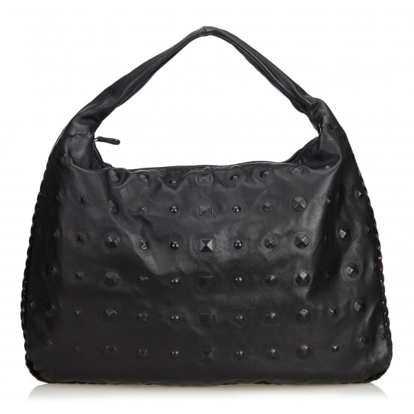Bottega Veneta Vintage - Studded Leather Hobo Bag - Black - Leather Handbag - Luxury High Quality