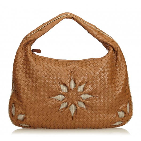 Bottega Veneta Vintage - Leather Flower Intrecciato Hobo Bag - Brown - Leather Handbag - Luxury High Quality