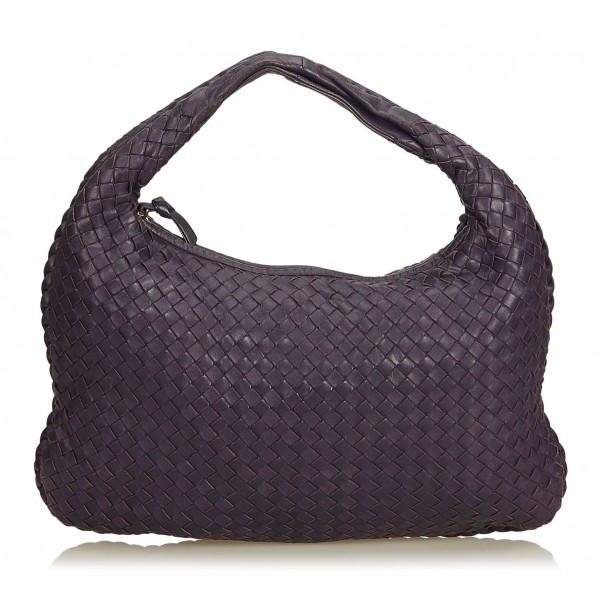 Bottega Veneta Vintage - Intrecciato Hobo Bag - Purple - Leather Handbag - Luxury High Quality