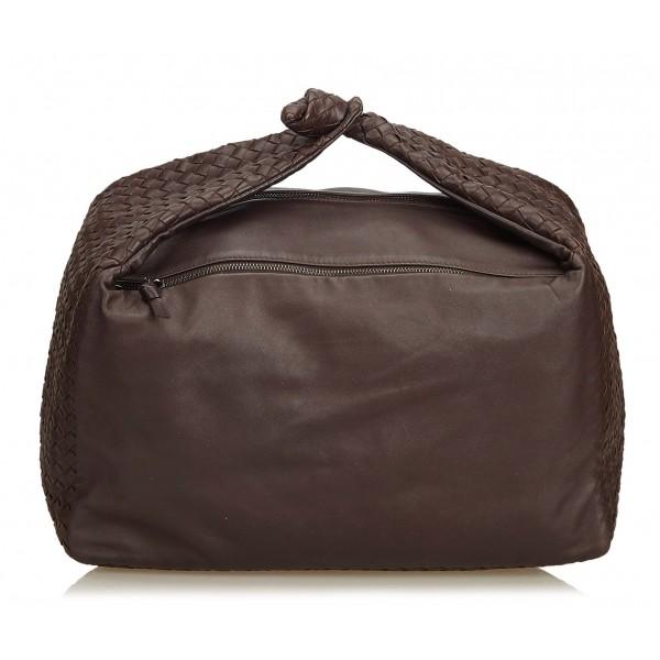 Bottega Veneta Vintage - Intrecciato Leather Hobo Bag - Brown - Leather Handbag - Luxury High Quality