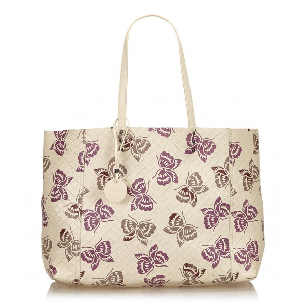Bottega Veneta Vintage - Intrecciato Mirage Tote Bag - White Ivory - Leather Handbag - Luxury High Quality