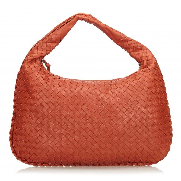 Bottega Veneta Vintage - Intrecciato Hobo Bag - Orange - Leather Handbag - Luxury High Quality