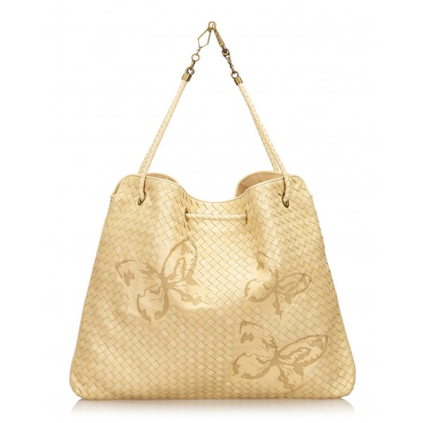 Bottega Veneta Vintage - Aurora Waxed Leather Farfalle Drawstring Bag - Avorio Beige - Borsa in Pelle - Alta Qualità Luxury