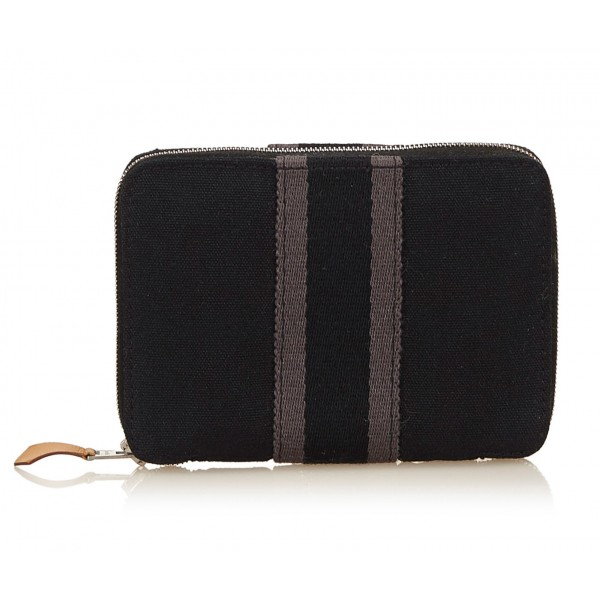 Hermès Vintage - Fourre Tout PM Wallet - Black Grey - Canvas Wallet - Luxury High Quality