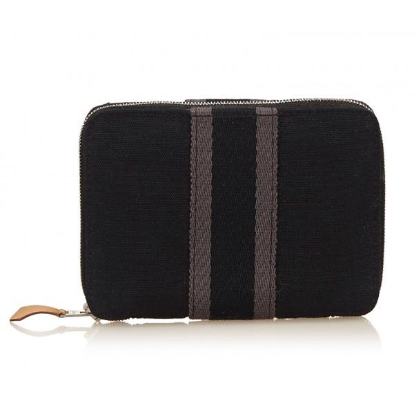 Hermès Vintage - Fourre Tout PM Wallet - Nero Grigio - Portafoglio in Tessuto - Alta Qualità Luxury